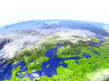 Scandinavian Peninsula on realistic model of Earth. Scandinavian Peninsula on model of Earth. 3D illustration with realistic planet surface. Elements of this Stock Image