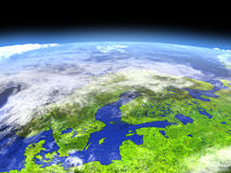 Scandinavian Peninsula from space Stock Photos