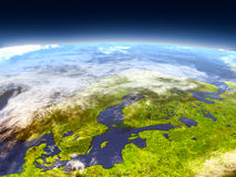 Scandinavian Peninsula from space Royalty Free Stock Photos