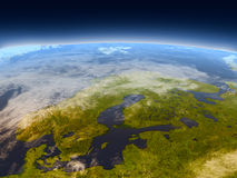 Scandinavian Peninsula from space Stock Images