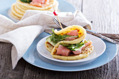 Scandinavian potato pancakes with salmon Royalty Free Stock Photos
