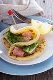 Scandinavian potato pancakes with salmon Stock Image