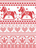 Scandinavian Printed Textile style and inspired by Norwegian Christmas and festive winter pattern with rocking horses angels heart. Scandinavian Printed Textile Stock Images