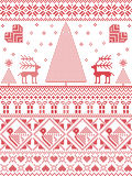 Scandinavian Printed Textile  style and inspired by  Norwegian Christmas and festive winter seamless pattern in cross stitch. With Xmas trees, snowflakes Stock Photo