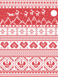 Scandinavian Printed Textile  style and inspired by  Norwegian Christmas and festive winter seamless pattern in cross stitch. With Xmas trees, snowflakes Royalty Free Stock Photography