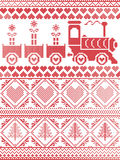 Scandinavian Printed Textile style and inspired by Norwegian Christmas and festive winter seamless pattern in cross stitch with gi Stock Images