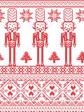 Scandinavian Printed Textile  style and inspired by Norwegian Christmas and festive winter seamless pattern with Nutcrackers. Scandinavian Printed Textile  style Royalty Free Stock Photos