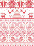 Scandinavian Printed Textile with Xmas trees, snowflakes, Reindeer, Robin Bird, heart, Christmas bauble Stock Images