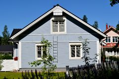 Scandinavian private house. Traditional private wood house in Finland, taken on June 2012 royalty free stock photo