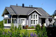 Scandinavian private house. Traditional private wood house in Finland, taken on June 2012 royalty free stock photography