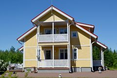 Scandinavian private house. Traditional private wood house in Finland, taken on June 2012 stock images