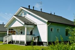 Scandinavian private house. Traditional private wood house in Finland, taken on June 2012 stock photo