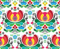 Seamless Norwegian vector folk art pattern - Rosemaling style embroidery background Stock Photos