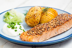 Scandinavian salmon with potatoes and pickled cucumber. Royalty Free Stock Images