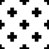 Scandinavian seamless black and white cross pattern. Stock Photos