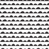 Scandinavian seamless black and white pattern in hand drawn style. Royalty Free Stock Images