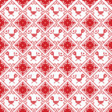 Scandinavian seamless cross stitch inspired by Nordic style Christmas pattern in cross stitch with bird Robin , star and decor Stock Image