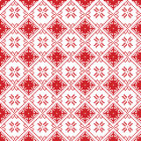 Scandinavian seamless cross stitch inspired by Nordic style Christmas pattern in cross stitch with  snowflake, star, ornaments Stock Photos