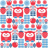 Scandinavian seamless cute pattern with owl and flower, inspired by Swedish and Finnish folk art, Nordic style Stock Photo
