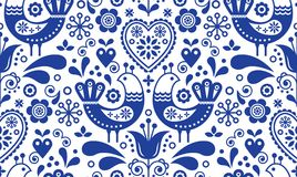 Scandinavian seamless folk art pattern with birds and flowers, Nordic floral design, retro background in navy blue. Retro floral background inspired by Swedish Royalty Free Stock Photo