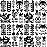 Scandinavian seamless folk art pattern - black Finnish design, Nordic style. Vector repetitive background with flowers and animals - monochrome design  on white Stock Photos