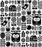 Scandinavian seamless folk pattern - black Finnish folk art, Nordic style. Vector repetitive monochrome background with flowers, fruit and animals  on white Stock Images