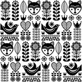 Scandinavian seamless  folk pattern with flowers and animals inspired by Finnish art. Vector repetitive background with flowers, foxes and birds, wallpaper in Royalty Free Stock Images