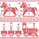 Scandinavian seamless nordic christmas  pattern with rocking horse, stars, snowflakes, hearts, xmas gifts , gravy train, decorativ Stock Photos