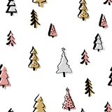 Scandinavian seamless pattern of Christmas. Tree vector hand-drawing graphics. Christmas pattern for wrapping paper and festive decoration of Christmas and Stock Image
