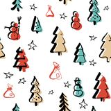 Scandinavian seamless pattern of Christmas. Tree and elements vector hand-drawing graphics. Christmas pattern for wrapping paper and festive decoration of Royalty Free Stock Photo
