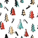 Scandinavian seamless pattern of Christmas. Tree vector hand-drawing graphics. Christmas pattern for wrapping paper and festive decoration of Christmas and Royalty Free Stock Photos