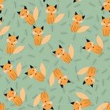 Scandinavian seamless pattern with fox. stock illustration