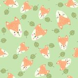 Scandinavian seamless pattern with foxes and leaves. Finnish design, Nordic style. Scandinavian seamless pattern with foxes and leaves. It can be used as Stock Photos