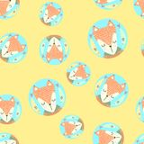 Scandinavian seamless pattern with foxes and leaves. Finnish design, Nordic style. It can be used as wallpaper, desktop, printing, wrapping, fabric or Royalty Free Stock Photo