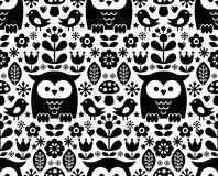 Scandinavian seamless pattern, Nordic folk art - inspired by traditional Finnish and Swedish designs. Vector repetitive black and white background with flowers Stock Photos