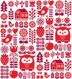 Scandinavian seamless pattern - red Finnish folk art, Nordic style stock illustration