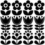Scandinavian seamless pattern, Swedish folk art design, retro floral background. Nordic, Scandinavian seamless black background with flowers on white Royalty Free Stock Photo