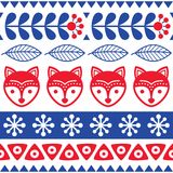Scandinavian seamless vector folk art pattern - Finnish floral design with foxes, Nordic style Stock Photography