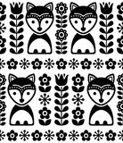 Scandinavian seamless vector pattern in black and white, Nordic background with foxes and flowers, folk art design Stock Images