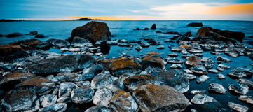 Scandinavian shoreline. Northern swedish shoreline on a cold spring morning Royalty Free Stock Images