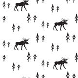 Scandinavian simple style black and white deer pattern. Royalty Free Stock Photography