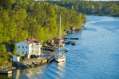 Scandinavian small harbor Royalty Free Stock Photos