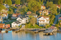 Scandinavian small harbor Stock Images