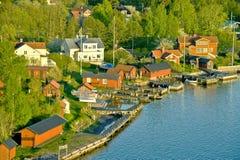 Scandinavian small harbor Royalty Free Stock Photos