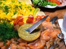 Free Scandinavian Smorgasbord With Gravlax And Mustard Sauce Royalty Free Stock Image - 138323196