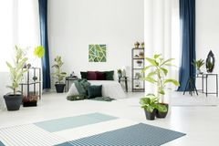 Scandinavian spacious bedroom royalty free stock photo