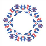 Scandinavian style blue and red wreath. Circle frame with scandinavian folk elements. Stock vector illustration of finnish nordic swedish norvegian floral wreath Royalty Free Stock Photos