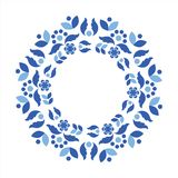 Scandinavian style blue wreath. Circle frame with scandinavian folk elements. Stock vector illustration of finnish nordic swedish norvegian floral wreath in blue Stock Images
