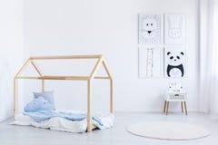 Scandinavian style boy`s bedroom stock images
