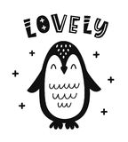 Scandinavian style childish poster with cute penguin. And hand drawn lovely letters for nursery, kids apparel printable print, postcard, baby shower invitation royalty free illustration